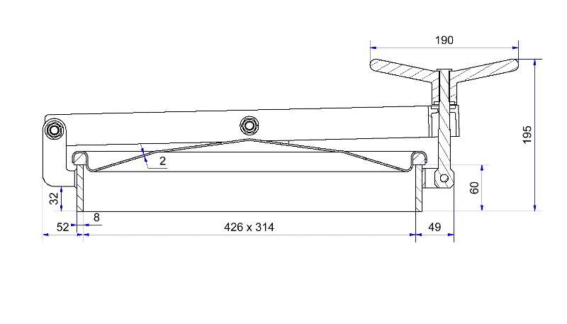 Porte rectangulaire ouverture extérieure - Porte rectangulaire 422 x 316 mm horizontale bras en V - H05-124-80