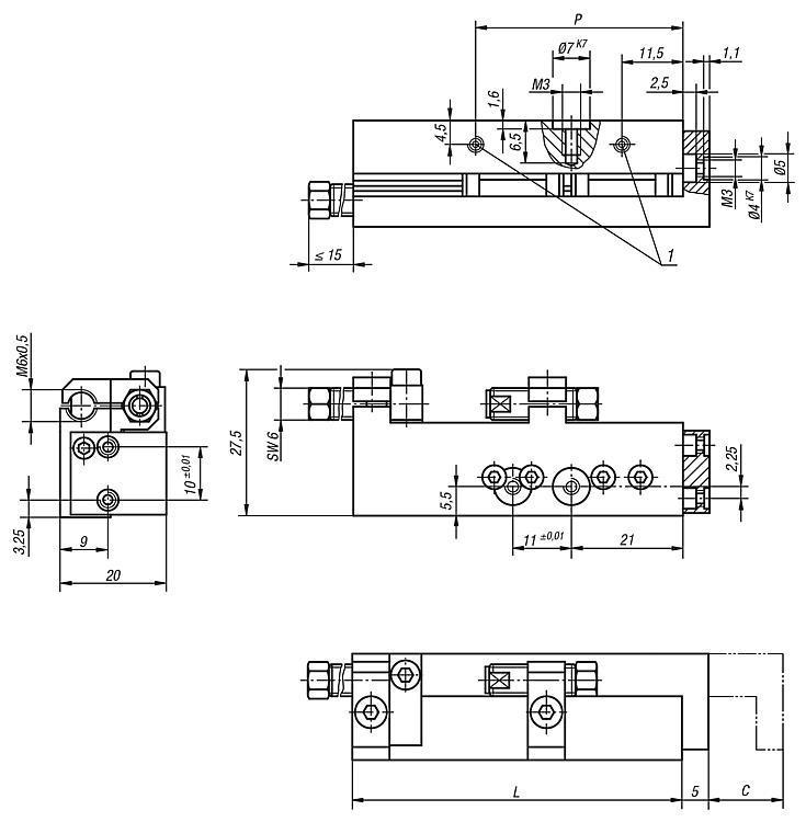 Module linéaire pneumatique à guidage sur rail - Système de manipulation pneumatique