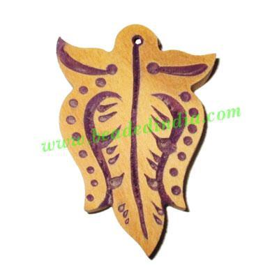 Handmade wooden fancy pendants, size : 48x33x5mm - Handmade wooden fancy pendants, size : 48x33x5mm