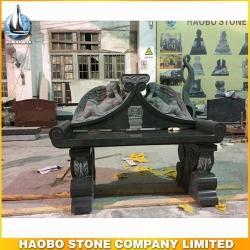 Black Granite Carved Baby Angel Bench Memorials Design