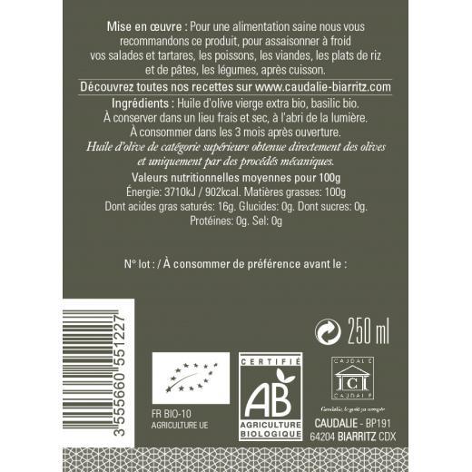 "Producteur Artisan - L'huile D'olive V.e ""basilic"" Bio - Epicerie fine : L'Huile d'Olive Vierge Extra ""Basilic"" Bio, flacon N°6 - 250ml"