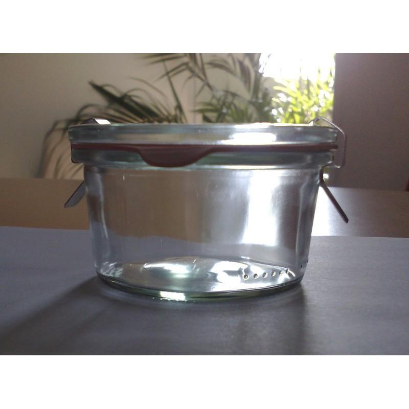 Bocaux Weck DROIT® - 12 bocaux 165 ml Weck modèle Coupelle avec couvercles en verre et joints (clips