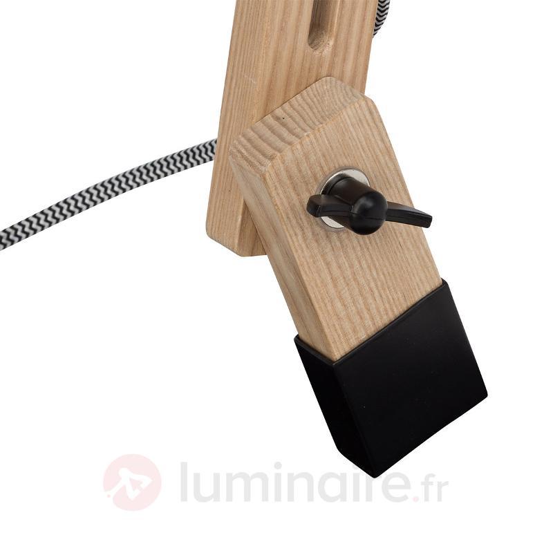 Lampe à poser noire Elias avec structure en bois - Lampes de bureau