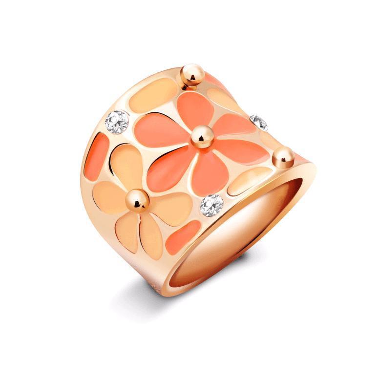 Anillo en oro 18k esmaltado - anillo esmaltado