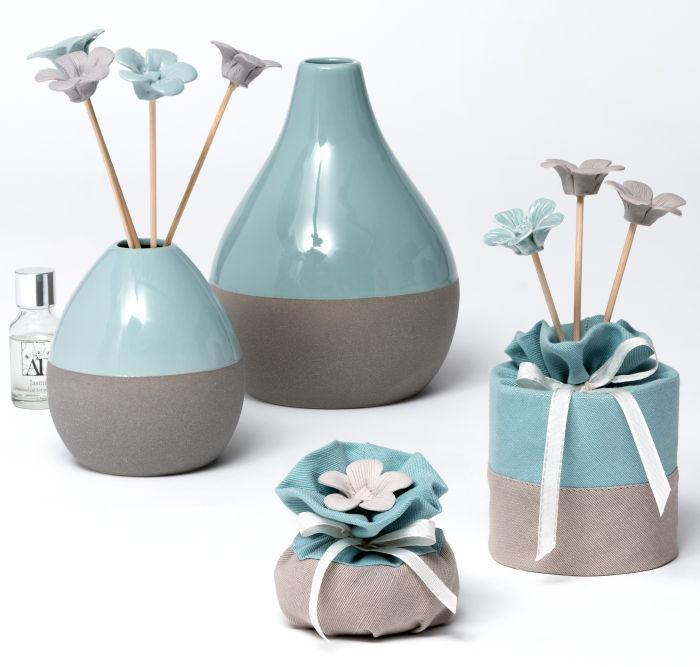 Sachet bicolore tiffany avec 3 Sticks fleurs à parfumer