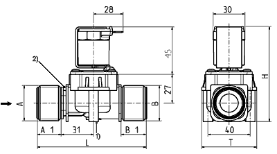 Servo-controlled solenoid valve NC, DN 21 - 01.021.126