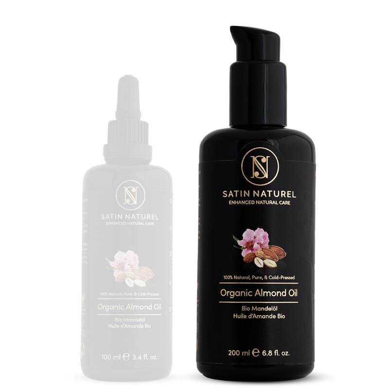Organic Almond Oil Vegan + Cold-pressed, 200ml - Violet Glass Bottle - Rich in Vitamins for Soft Skin -Pure Natural Cosmetics
