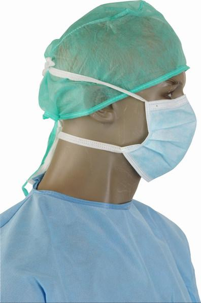 Mascarillas Quirúrgicas en PP azul, con correas, tríptico