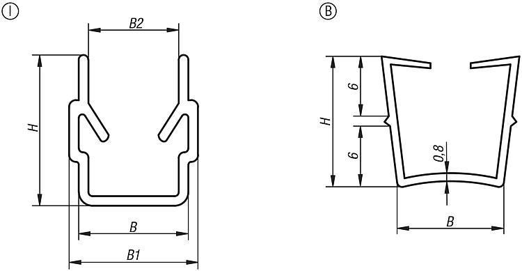 Profil cache rainure/joint de remplissage type B et type I - Caches
