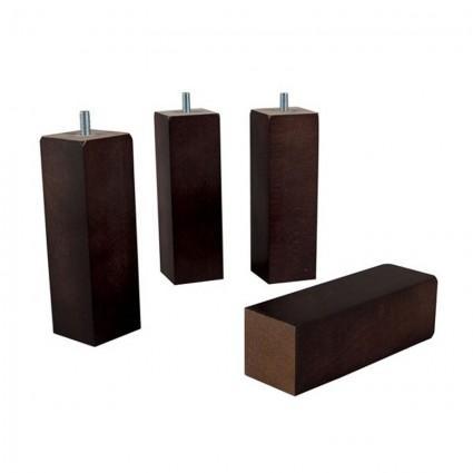 Sommier et Mobilier - Paire de Pieds de sommier carré bois wengé