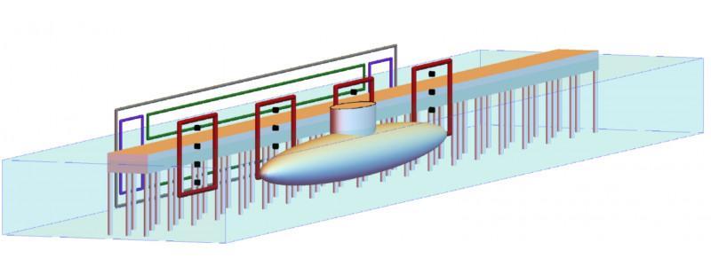 Half-Space Entmagnetisierungs & Vermessungsanlage - HDMR - Magnetische Entmagnetisierung und Vermessung stationärer Schiffe an einer Pier