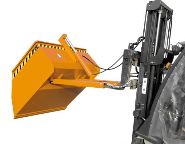 Shovels, Forklift truck attachments - Shovel with fork sleeves and emptying mechanism