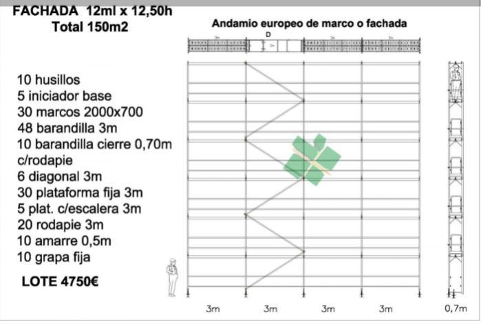 andamio europeo de fachada - Andamio homologado y certificado europeo 150m2