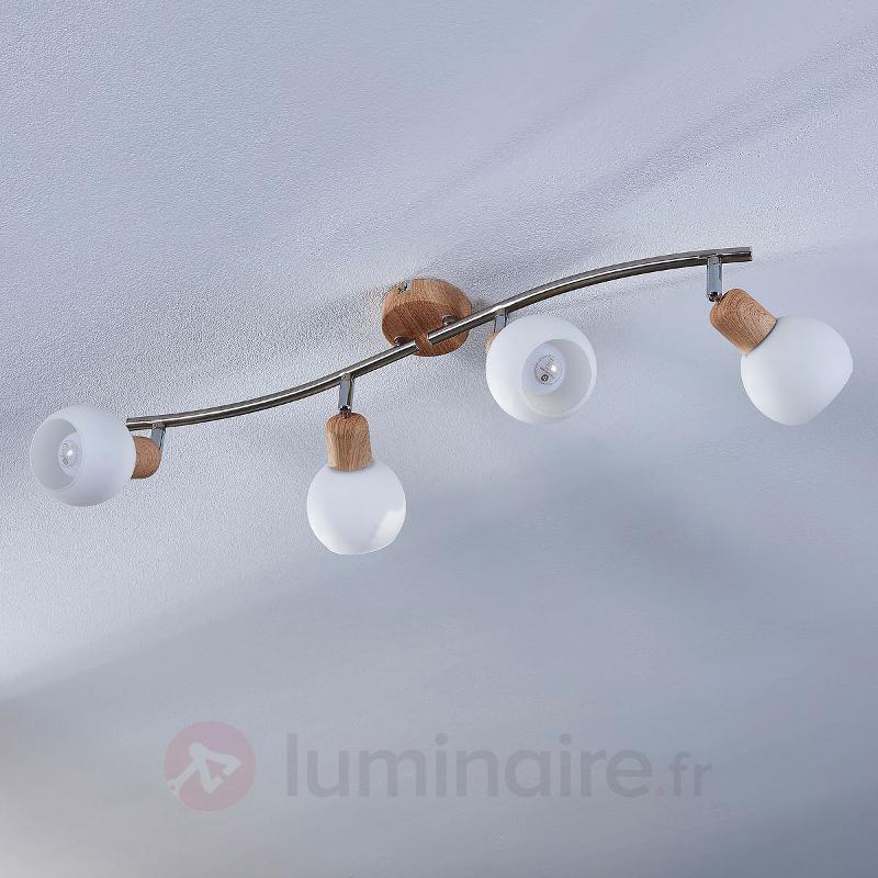Plafonnier LED en bois Svenka à 4 lampes - Spots et projecteurs LED
