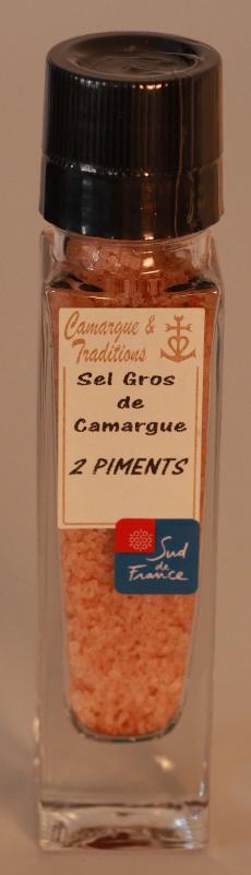 MOULIN RECHARGEABLE - SEL GROS DE CAMARGUE - 2 PIMENTS - Epicerie salée