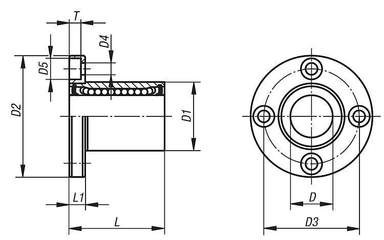 Palier linéaire à billes avec bride - Système de guidage linéaire