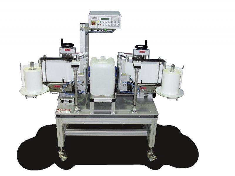 Semi-automatic labelling of canisters TNC-2F - Semi-automatic labelling of square products (canisters) - TNC-2F