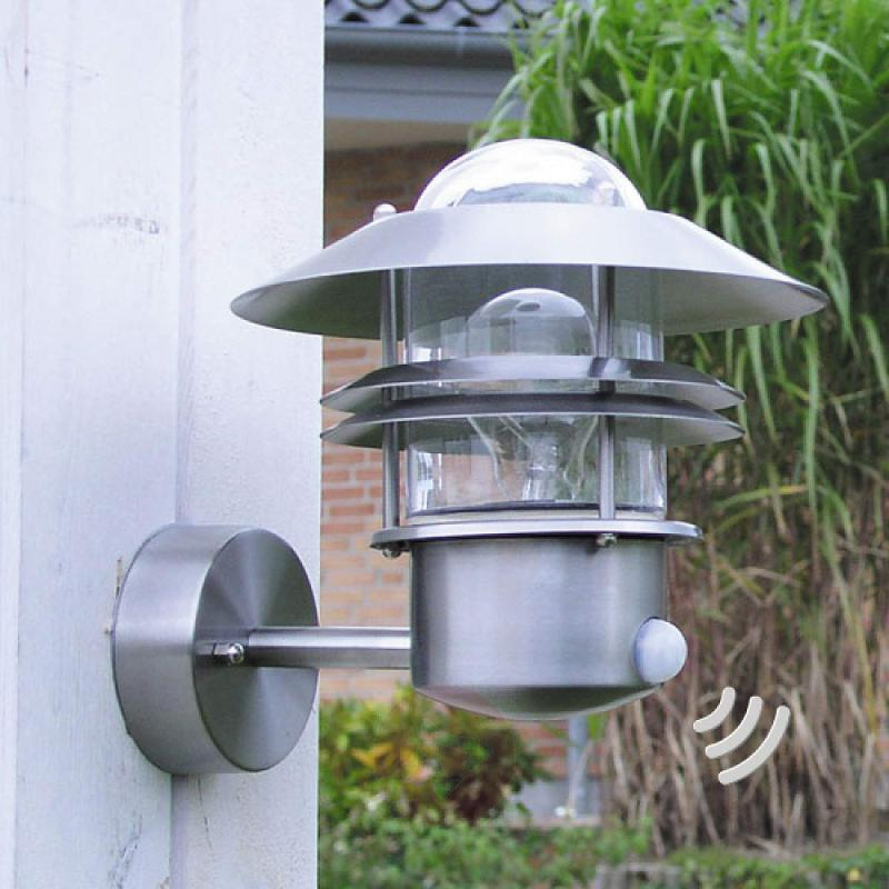 Stainless steel wall lamp Blokhus with sensor - stainless-steel-outdoor-wall-lights