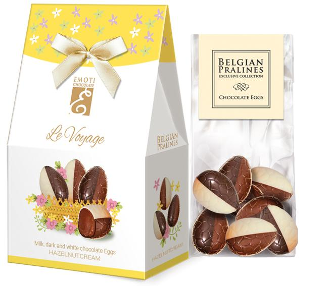Chocolate eggs with hazelnut filling for Easter - Emoti Le Voyage, 72g