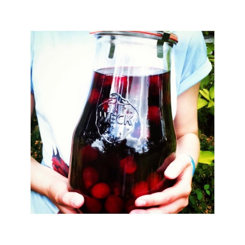 4 vasi in vetro WECK Corolle® 2700 ml  - con coperchi in vetro e guarnizioni (graffe non incluse)
