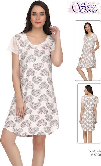 Beige Printed Viscose Short Nighty #5028