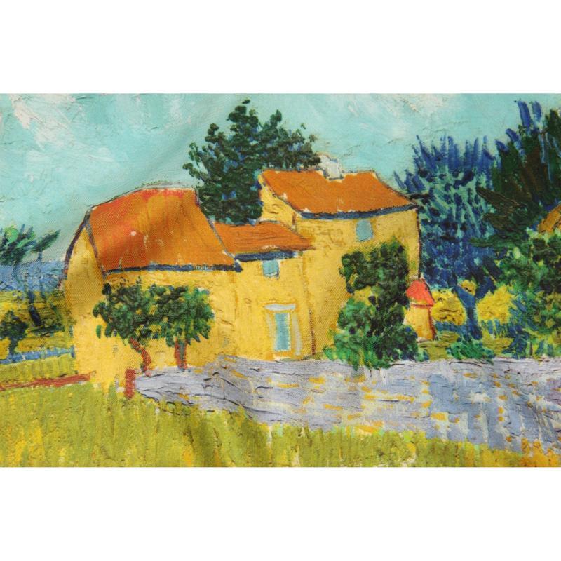 Petit Carré En Twill De Soie Imprimé Van Gogh Mas En Provence - Orange - LES GRANDS PEINTRES