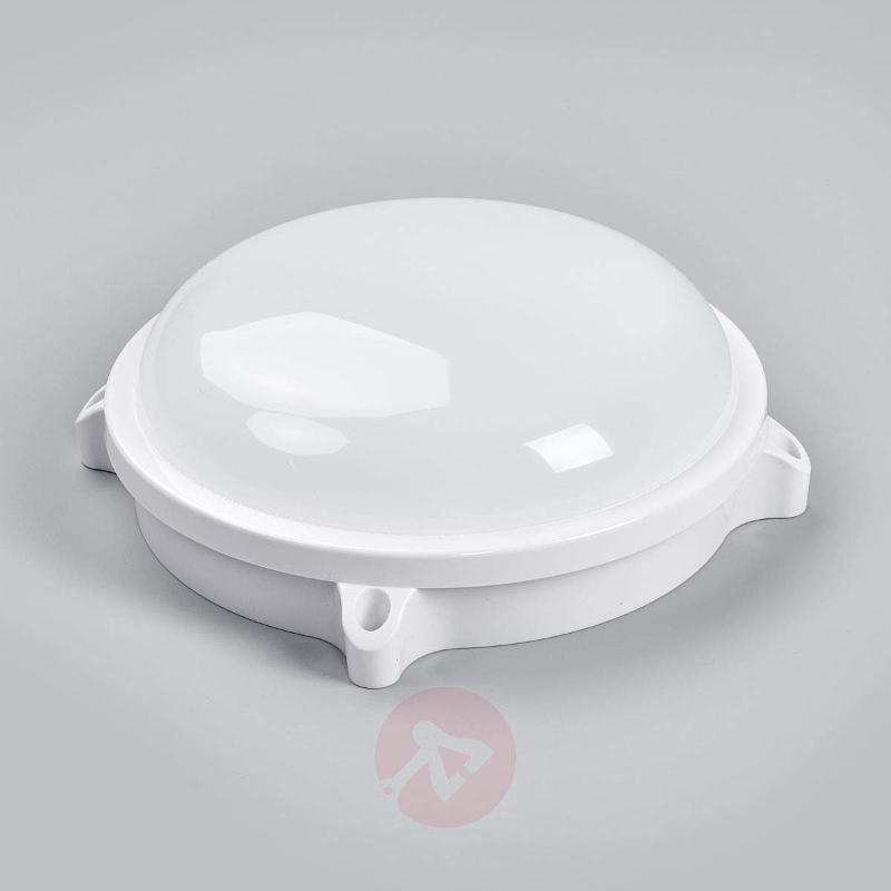 Round Mondo LED outdoor light in white - Outdoor Wall Lights