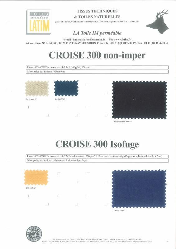 CROISE 300 Non-Imper & CROISE 300 Isofuge - Toiles naturelles