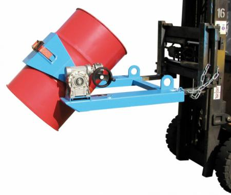 Drum tipper type FLEX, forklift truck attachment - Used for transporting, controlled emptying, turning over and setting down drums