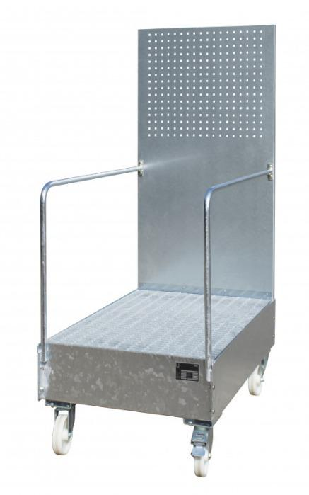 Mobile sump trays type LPW - Sump trays with swivels and perforated tool board