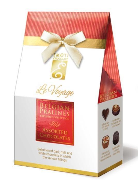 EMOTI Assorted Chocolates, Gift Bag 76g (bow decorated). SKU -