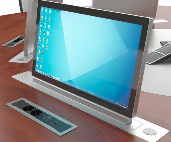 Ecrans motorisés à intégrer SCREENLIFT S.1 - Ecrans rétractables motorisés à intégrer dans une table de réunion