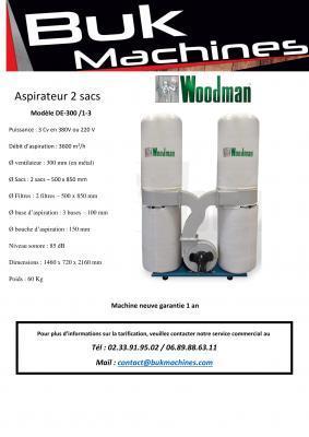 Aspiration 2 sacs  - Woodman (220 V ou 380 V)