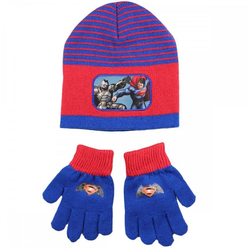3x Bonnets et gants Batman et Superman - Bonnet Gant Echarpe