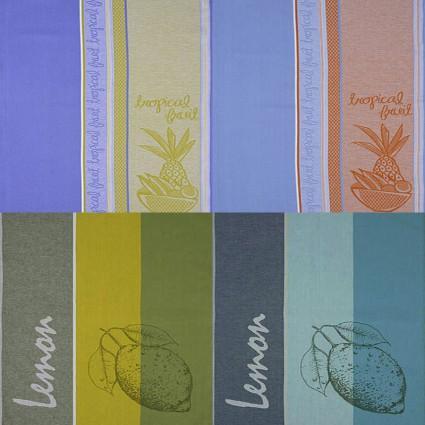 Linge de table : bavoirs et nappes - Lot de 6 Serviettes coton jacquard à motifs 50 par 70 cm