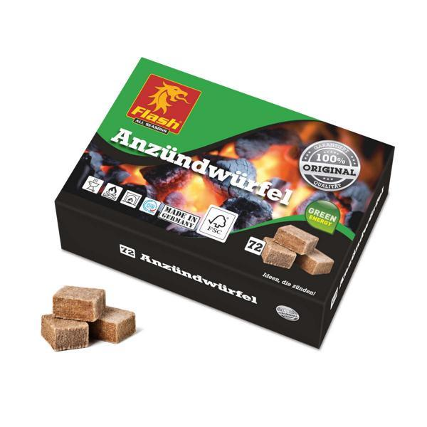 FLASH Anzündwürfel 72 Stück aus Holz & Wachs -