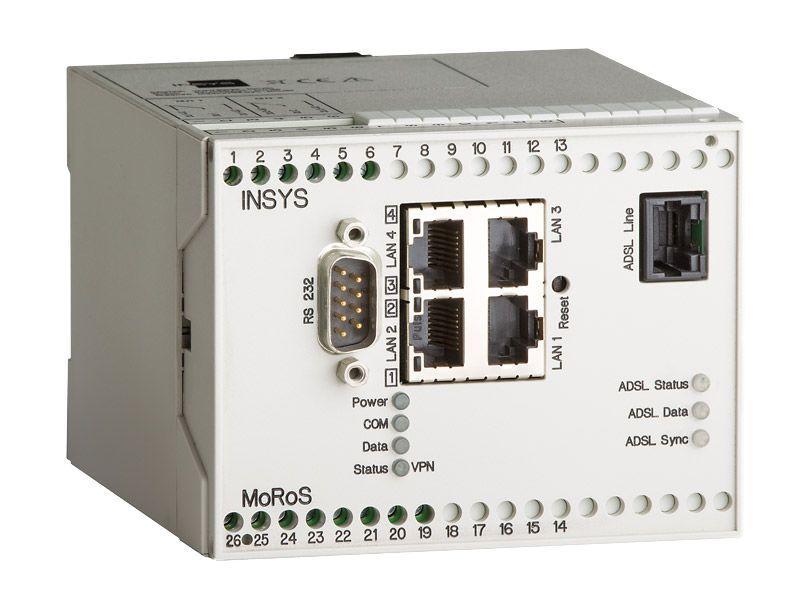 MoRoS ADSL J Anx J/B-Router, VPN, Full-NAT, Programmable - MoRoS ADSL J Router, 4 Port-Switch, Firewall, IP-/Port Forwarding, Netmapping