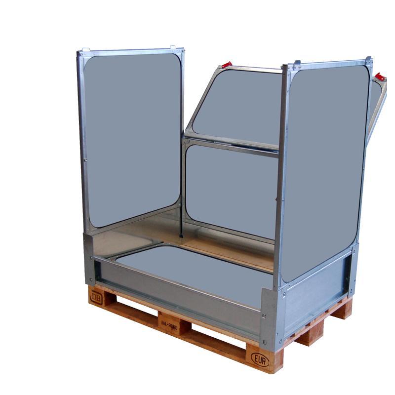 Faltbare Großbehälter mit Kunststoff Faltwände  - und 2 Klappfenster / MPC.e120