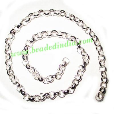 Silver Plated Metal Chain, size: 2x6mm, approx 21.6 meters i - Silver Plated Metal Chain, size: 2x6mm, approx 21.6 meters in a Kg.