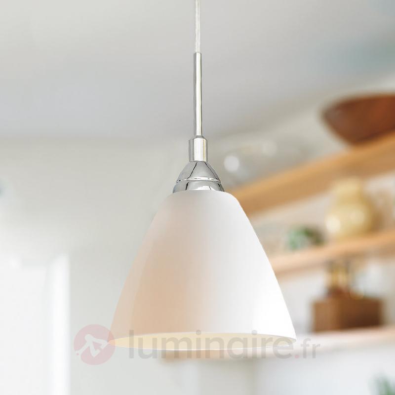 Suspension de verre Read blanc opalisé, 20 cm - Suspensions en verre