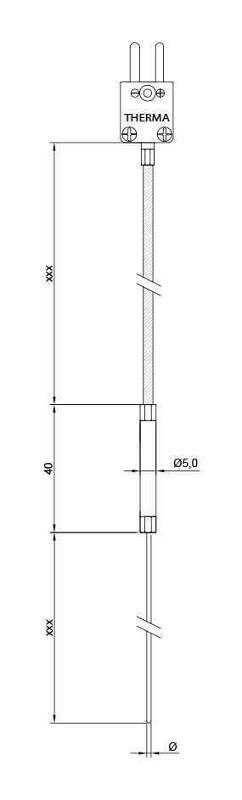 Mini-Sheathing thermocouple | Fibreglass | Type K | less Ø 1mm - Sheathed thermocouple