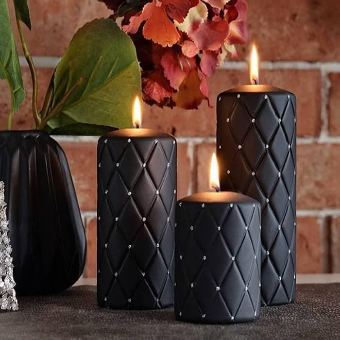 Hand-decorated Black Pillar Candles - candle decoration