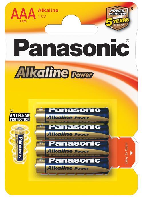 Batterie ministilo Alcaline Power 4 pz - LR03APB/4BP | Blister da 4 pile AAA Panasonic