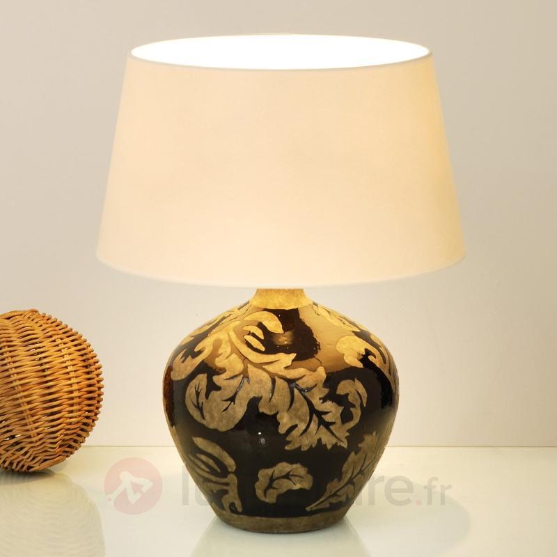 Lampe à poser Toulouse argile vernissée noir - Lampes à poser en tissu