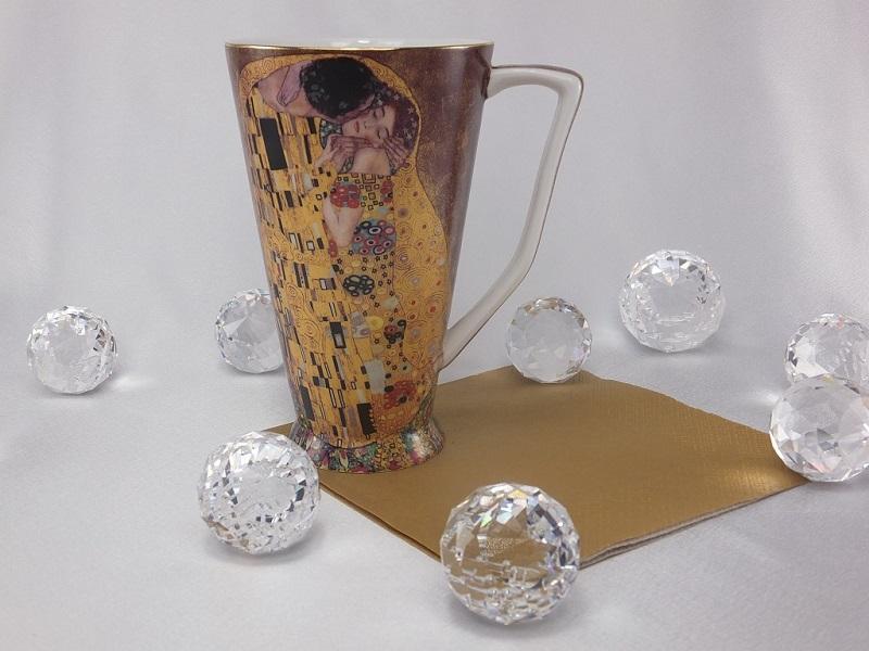 Gustav Klimt - Kaffeetasse XXL - Der Kuss in Gold
