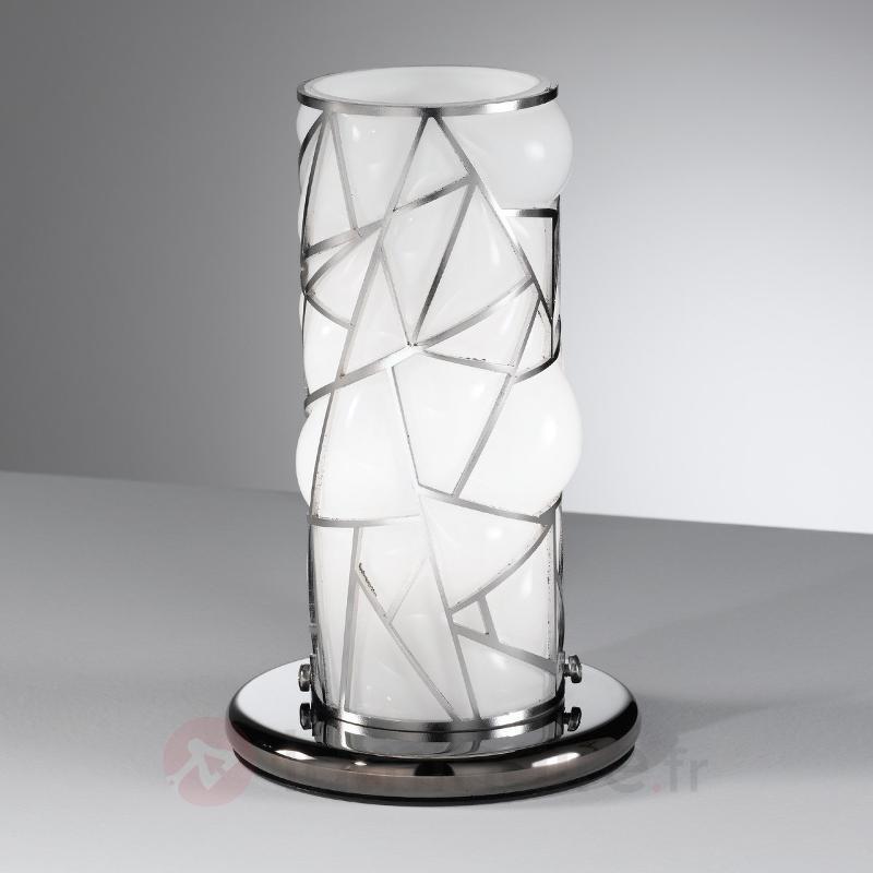 Lampe à poser Orione blanche avec éléments en inox - Lampes à poser designs