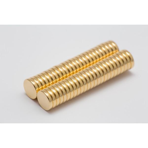 Neodymium disc magnet 10x2mm, N45, Ni-Cu-Ni, gold coated - Disc