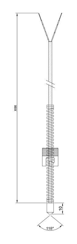 Plug-in thermocouple | Fibreglass | Type K T-20184 - Plug-in thermocouple