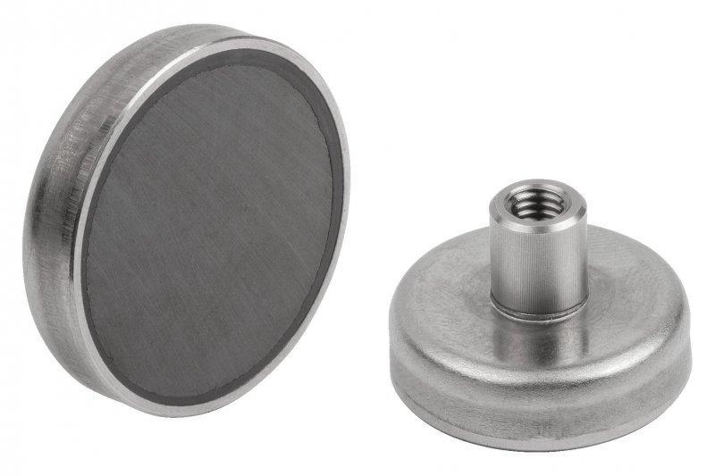 Magnete mit Innengewinde und Edelstahlgehäuse - Flachgreifer mit Gewinde, geschirmtes System, Edelstahl, Magnetkern Hartferrit