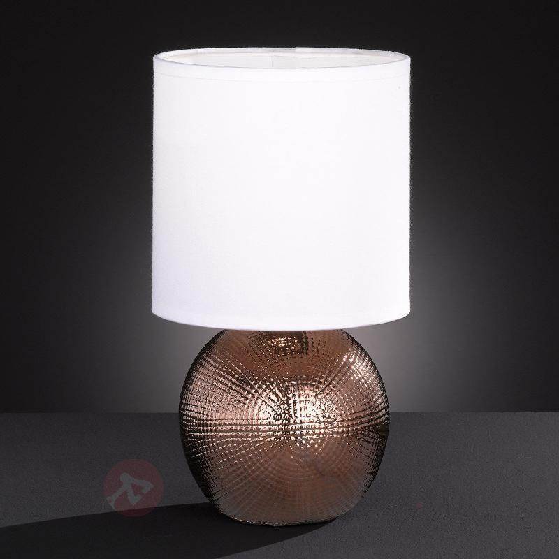Petite Lampe à poser Foro avec pied couleur cuivre - Lampes de chevet